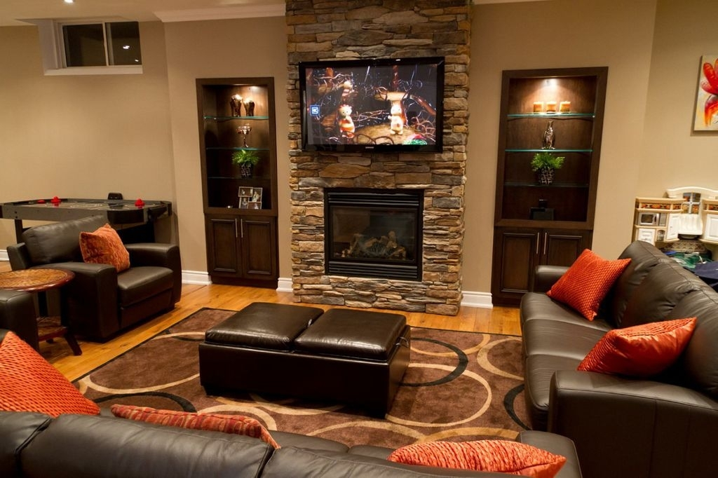 Decorations : Lovely Beige Home Theater Room Fireplace In Stone Intended For Wall Accents With Beige (Image 6 of 15)