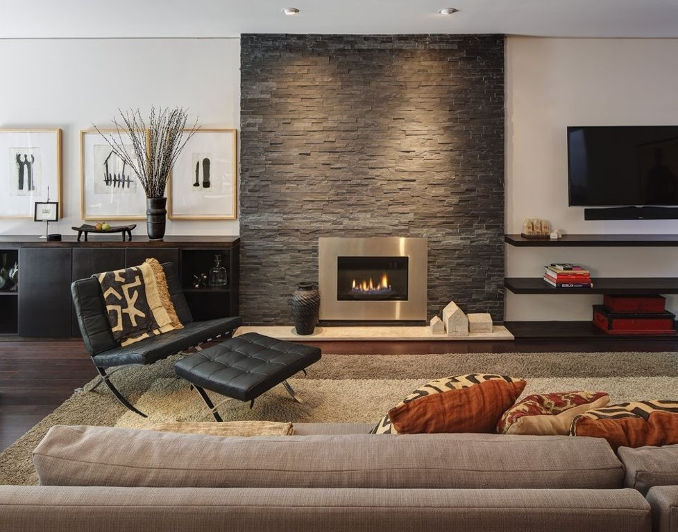 Decorations : Lovely Beige Home Theater Room Fireplace In Stone Within Wall Accents With Beige (View 8 of 15)