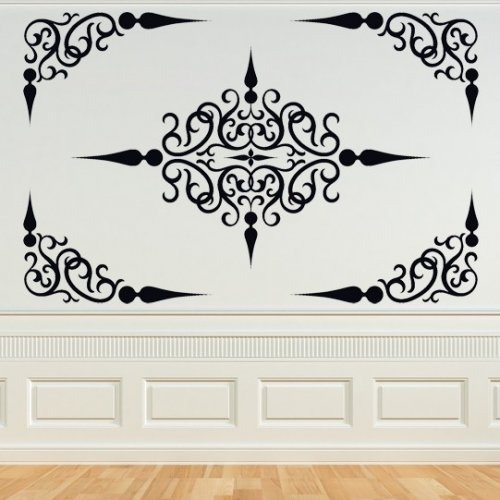 Decorative Scroll Panel, Ornate, Decal, Vinyl, Sticker,wall,home Intended For Vinyl Stickers Wall Accents (View 12 of 15)