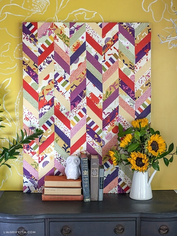 Decoupage Chevron Fabric Art – Mod Podge Rocks Pertaining To Fabric Decoupage Wall Art (View 1 of 15)