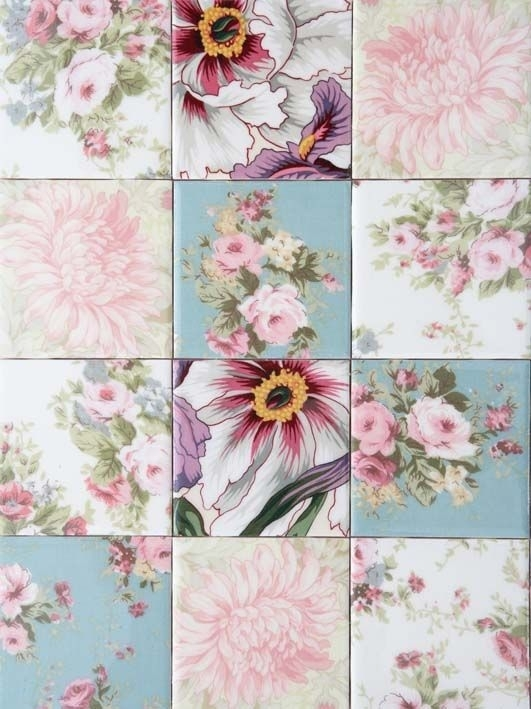 Decoupage Fabric Onto Tiles | Handmade And Hot! | Pinterest Intended For Fabric Decoupage Wall Art (Image 7 of 15)