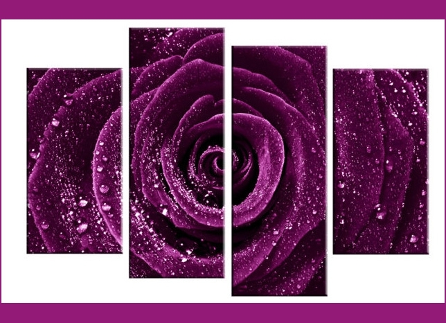 Deep Plum / Purple Rose With Water Droplets Dew – 4 Panel Split With Canvas Wall Art In Purple (View 3 of 15)