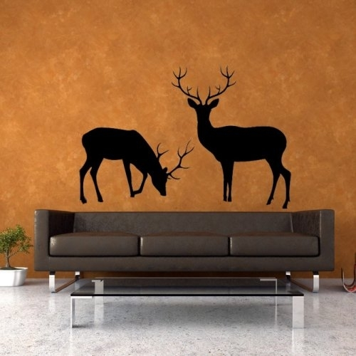 Deer Scene, Animals, Group, Many, Decal, Vinyl, Sticker, Wall For Vinyl Wall Accents (Image 6 of 15)