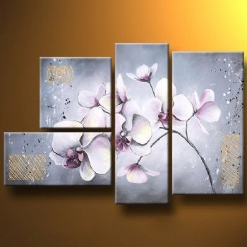 Delicate Orchids Modern Canvas Art Wall Decor Floral Oil Painting Throughout Orchid Canvas Wall Art (Image 8 of 15)