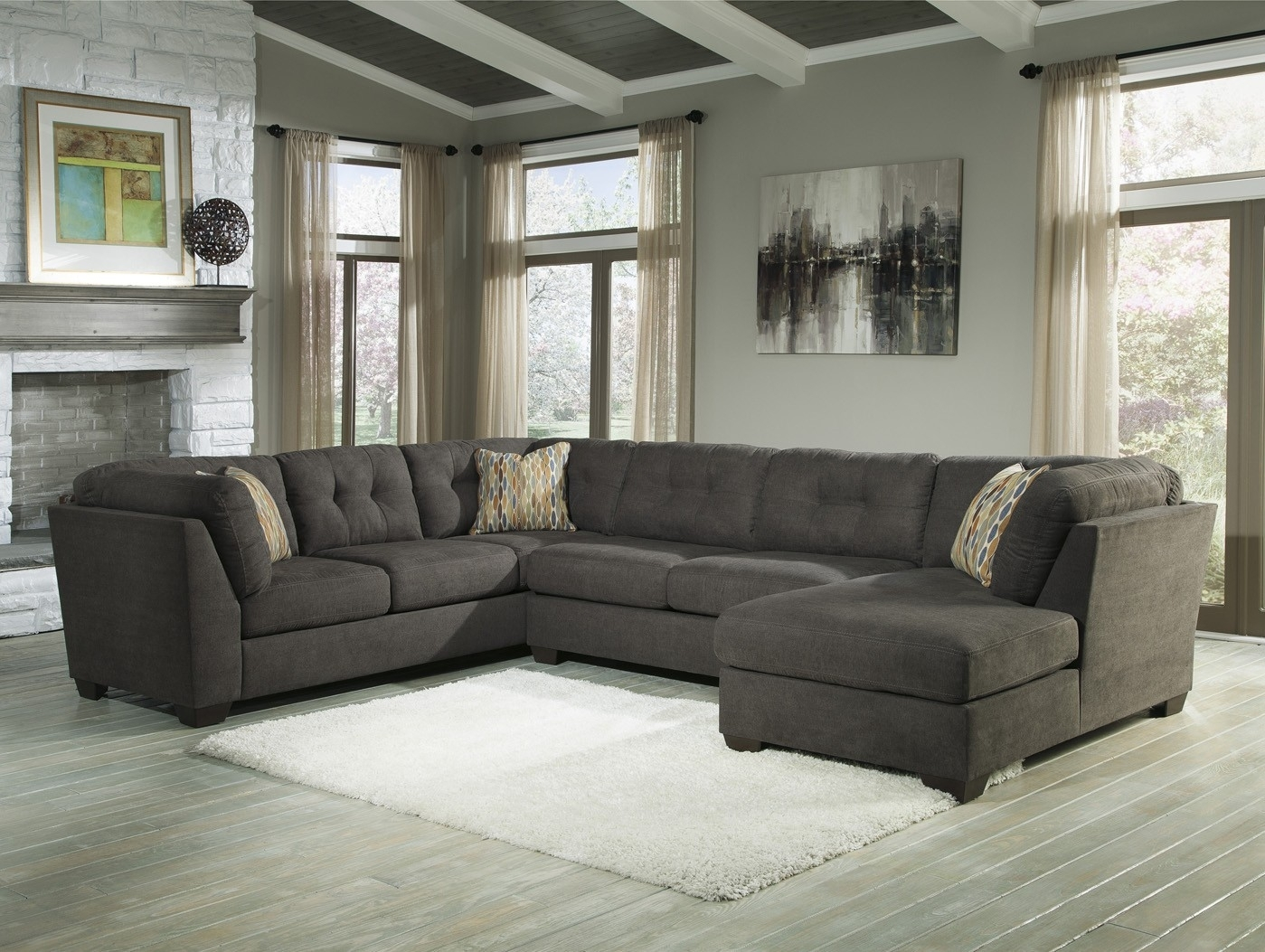 Delta City Steel 3 Piece Sectional Sofa With Right Arm Facing Chaise With Regard To Elk Grove Ca Sectional Sofas (Image 5 of 10)
