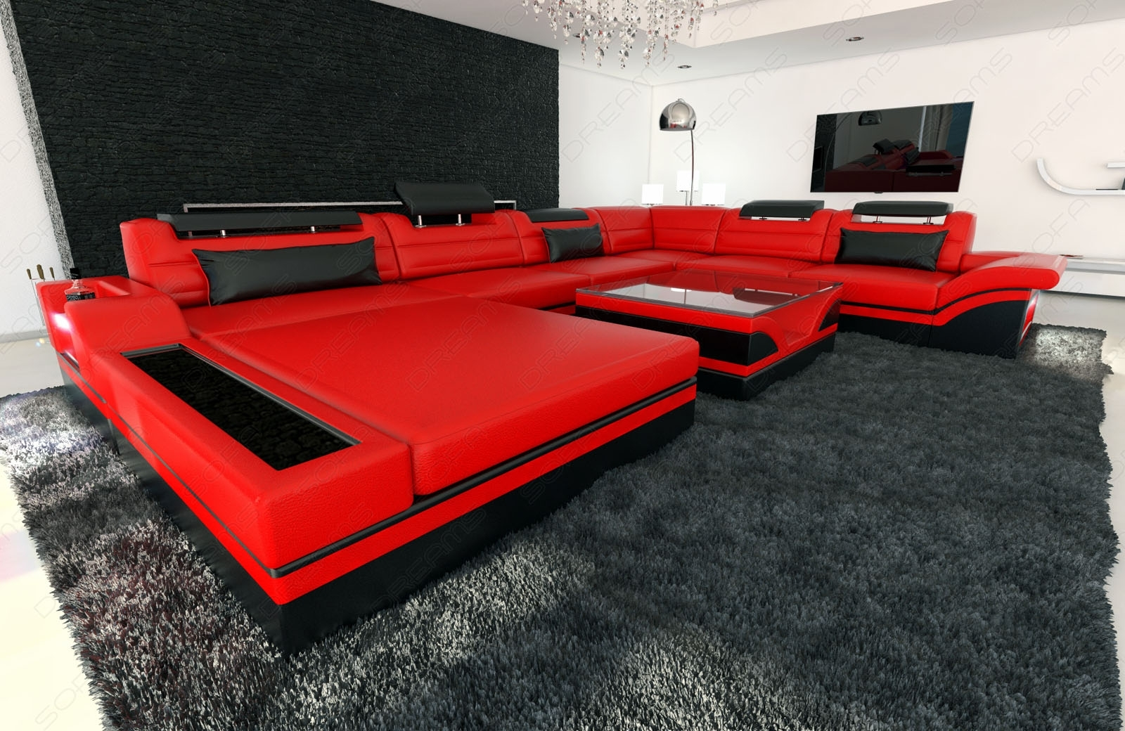 Design Sectional Sofa Mezzo Xxl With Led Lights Red Black | Ebay Intended For Red And Black Sofas (View 10 of 10)