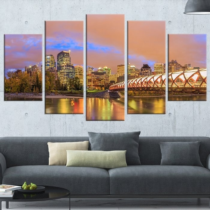 Designart 'calgary At Night' 5 Piece Wall Art On Wrapped Canvas Within Calgary Canvas Wall Art (Image 6 of 15)