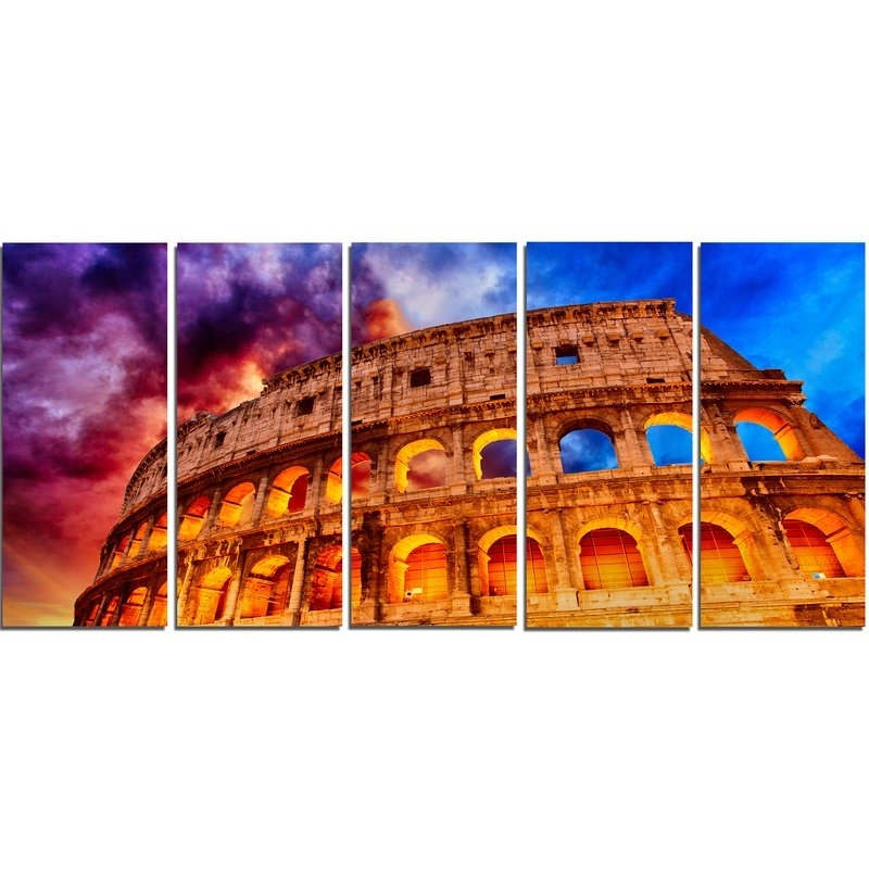 Designart Colosseum Rome Italy 5 Piece Wall Art On Wrapped Canvas Within Canvas Wall Art Of Rome (Image 10 of 15)