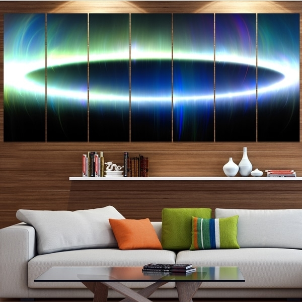 Designart 'large Blue Oval Fractal Light' Abstract Wall Art On For Light Abstract Wall Art (Image 8 of 15)