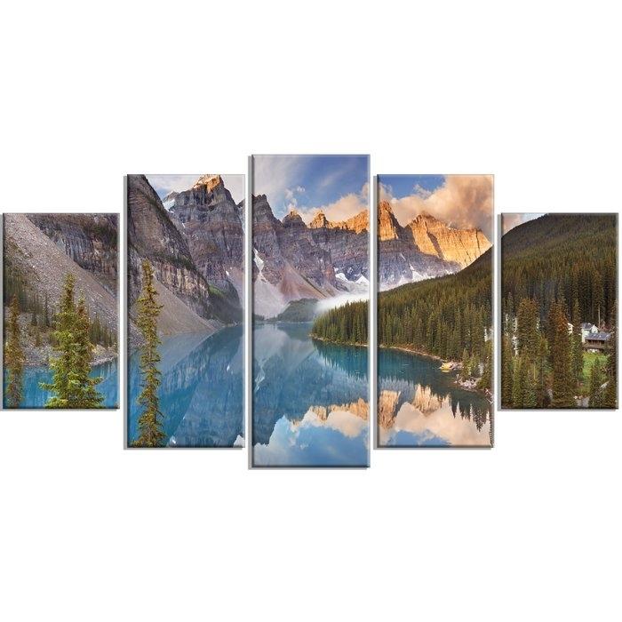 Designart 'moraine Lake In Banff Park Canada' 5 Piece Wall Art On Regarding Canvas Wall Art In Canada (Image 9 of 15)