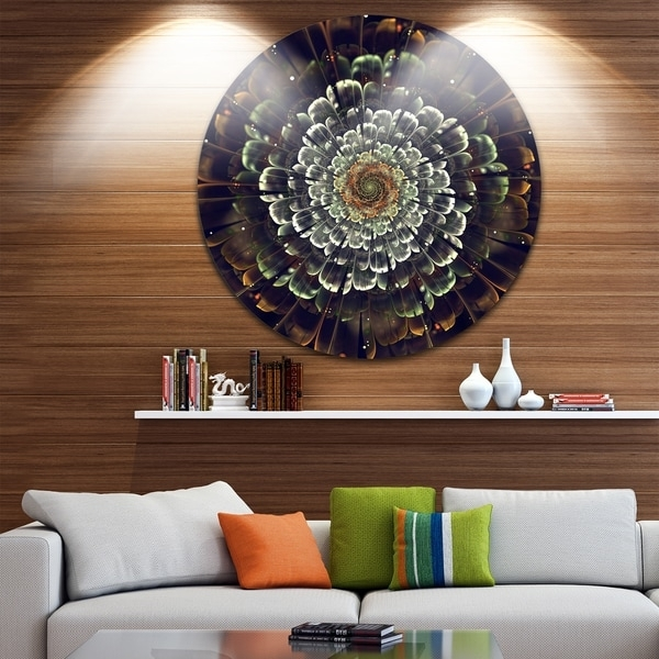 Designart 'silver Metallic Fabric Flower' Digital Art Round Metal Regarding Round Fabric Wall Art (View 6 of 15)