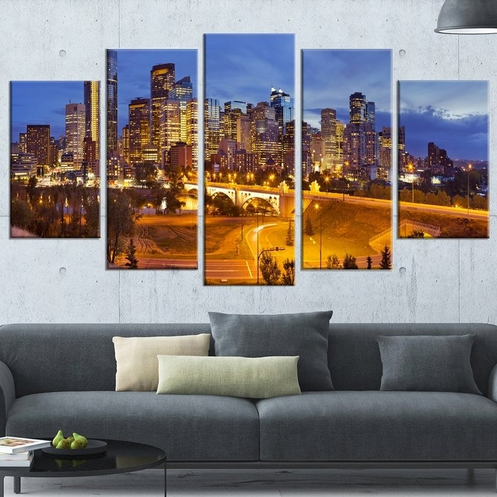 Designart 'skyline Of Calgary At Night Panorama' 5 Piece Wall Art Regarding Calgary Canvas Wall Art (Image 7 of 15)