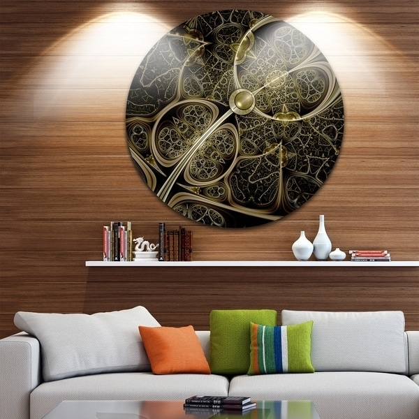 Designart 'yellow Metallic Fabric Pattern' Digital Art Circle Wall Inside Fabric Circle Wall Art (View 10 of 15)