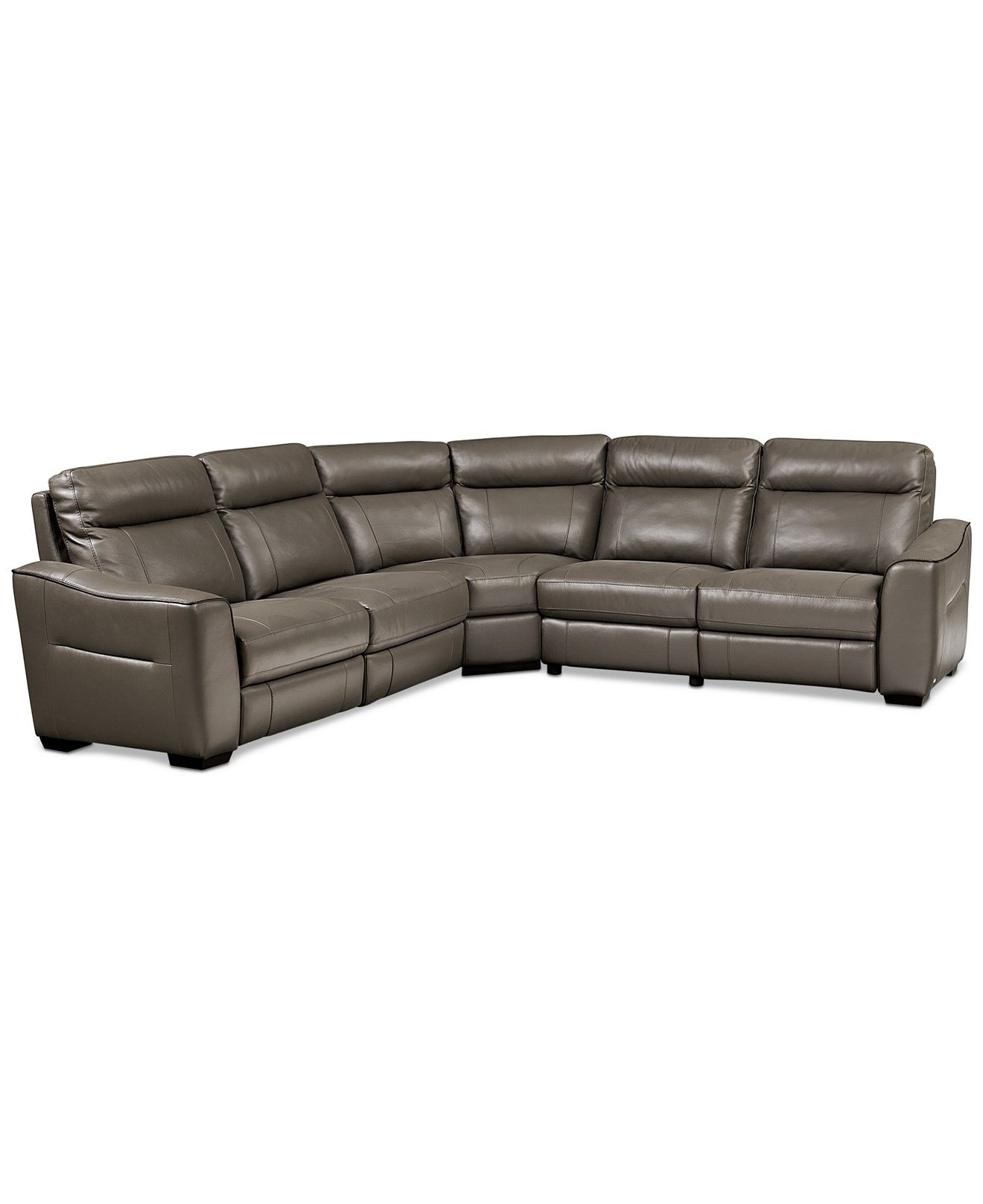 Destin Leather 5 Piece Sectional Sofa With 3 Power Recliners Throughout Macys Leather Sectional Sofas (Image 3 of 10)