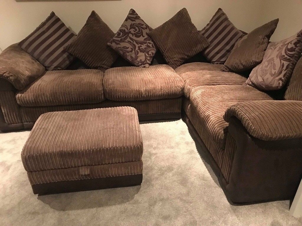 Dfs Mocha Brown Fabric Corner Sofa & Storage Footstool | In For Fabric Corner Sofas (View 10 of 10)
