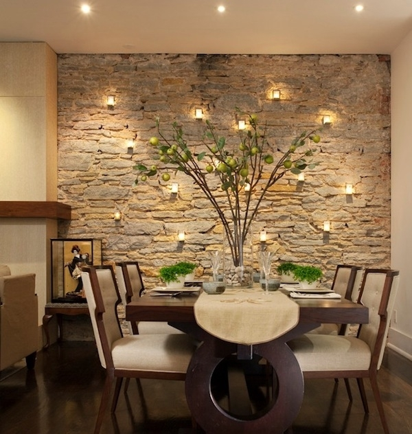 Dining Room Design: Dining Room Accent Wall Stone, Dining Room For Wallpaper Living Room Wall Accents (Image 4 of 15)