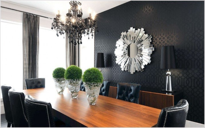 Dining Room : Fancy Mirrors For Modern Dining Room With Black In Rectangular Wall Accents (Image 6 of 15)