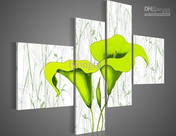 Discount Hand Painted Hi Q Modern Wall Art Home Decorative For Lime Green Canvas Wall Art (View 10 of 15)