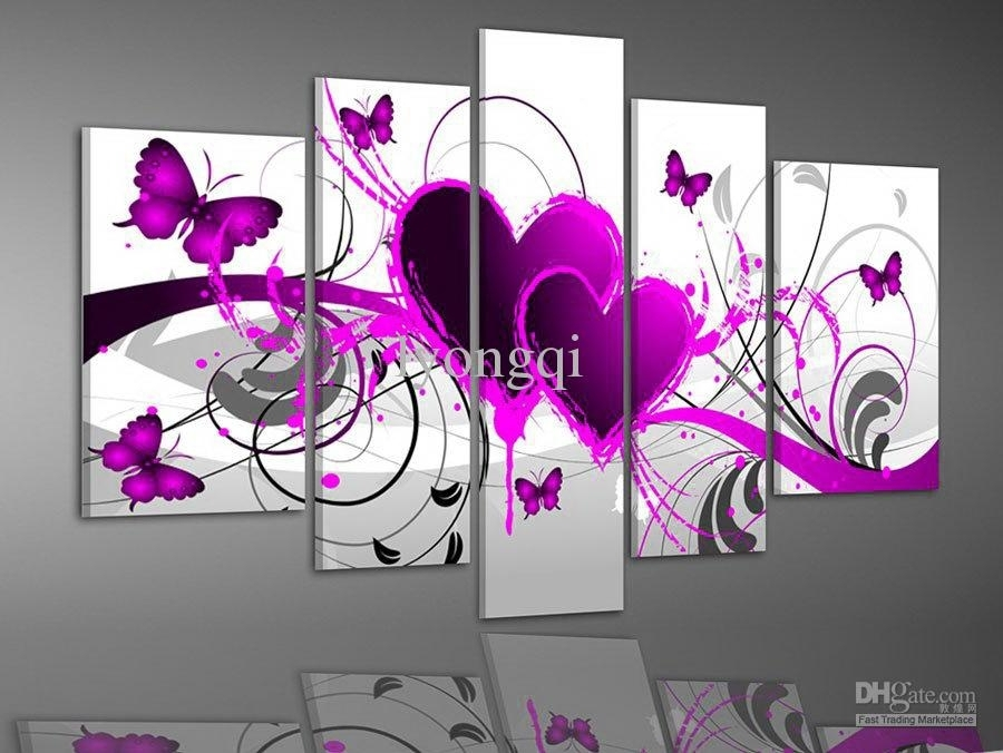 Discount Hand Painted Hi Q Modern Wall Art Picture Home Decor Within Abstract Heart Wall Art (View 8 of 15)