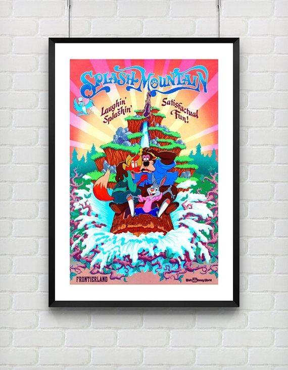 Disneyland Poster, Vintage Splash Mountain Disney World Attraction Throughout Disney Framed Art Prints (View 13 of 15)