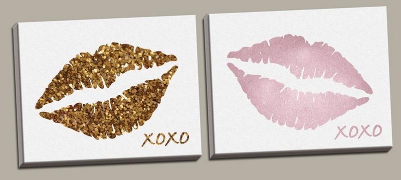 District17: Glitter Lips And Pink Lips Canvas Wall Art Set: Canvas Within Glitter Canvas Wall Art (Image 2 of 15)