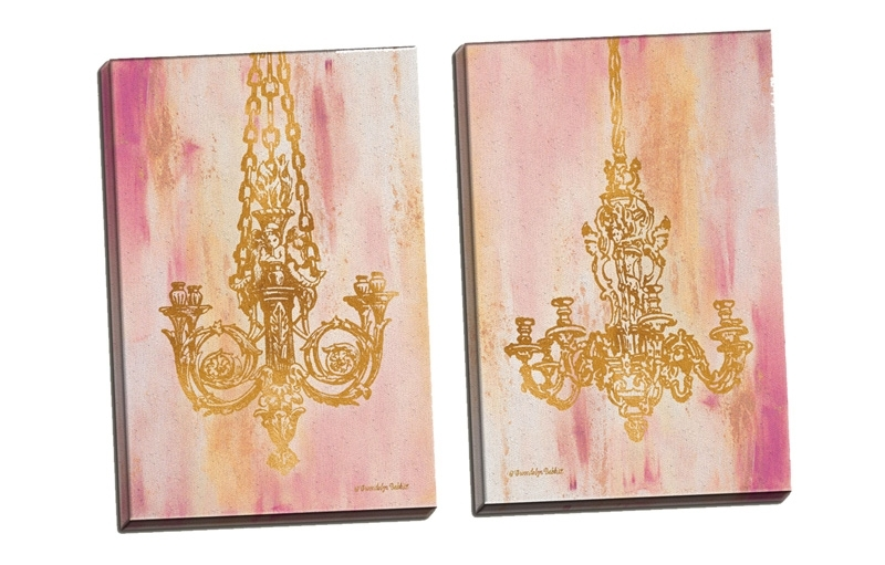District17: Pink And Gold I, Ii Canvas Wall Art Set: Canvas Wall Art Inside Pink Canvas Wall Art (Image 3 of 15)