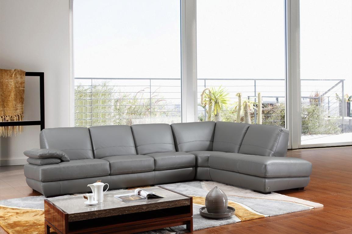 Divani Casa 208Ang – Modern Grey Italian Leather Sectional Sofa Regarding Nh Sectional Sofas (Image 3 of 10)