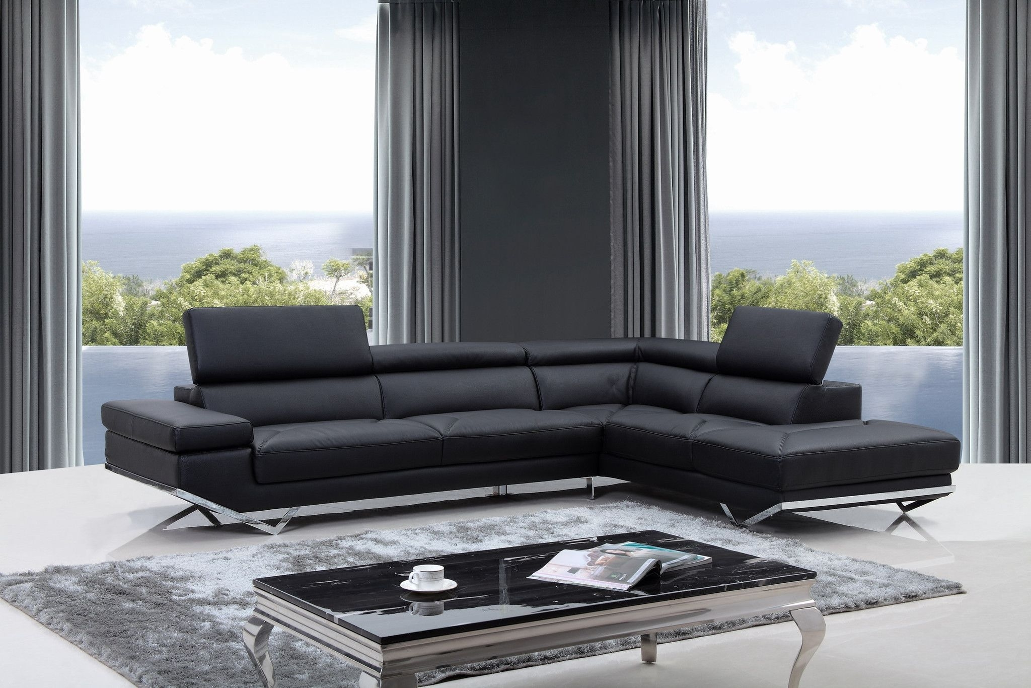 Divani Casa Quebec Modern Black Eco Leather Sectional Sofa | Media With Regard To Quebec Sectional Sofas (Image 6 of 10)