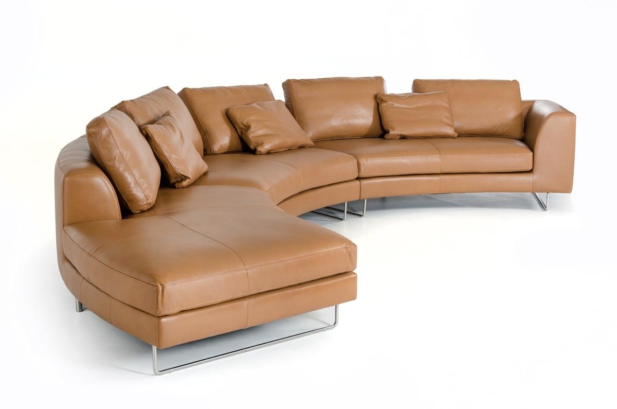 Divani Casa Tulip Modern Camel Full Leather Sectional Sofa Regarding Camel Sectional Sofas (View 4 of 10)
