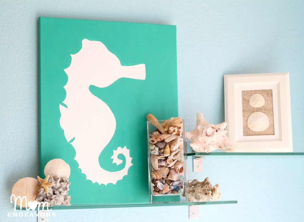 Diy Beach Themed Art On Canvas Using #seahorse Motif (Image 7 of 15)