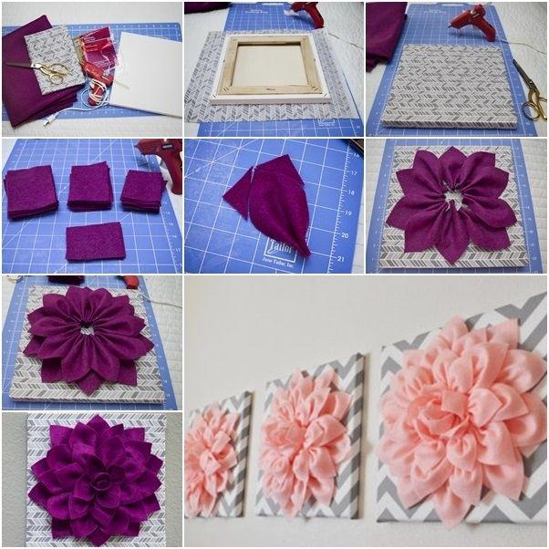 Diy Beautiful 3D Felt Dahlia Flower Wall Art | Dahlia Flower, Art Throughout Diy Fabric Flower Wall Art (View 3 of 15)