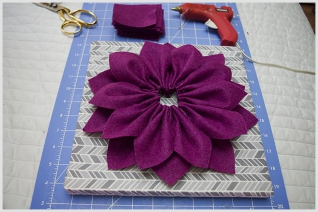 Diy Beautiful 3D Felt Dahlia Flower Wall Art With Diy Fabric Flower Wall Art (Image 7 of 15)