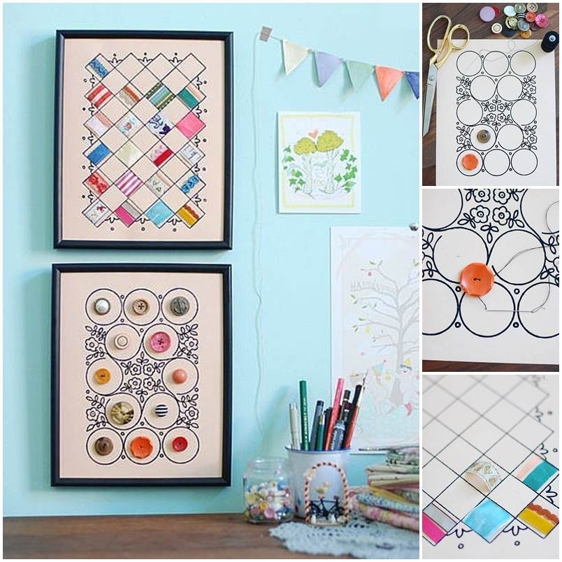 Diy Button And Cloth Wall Art Regarding Fabric Square Wall Art (Image 2 of 15)