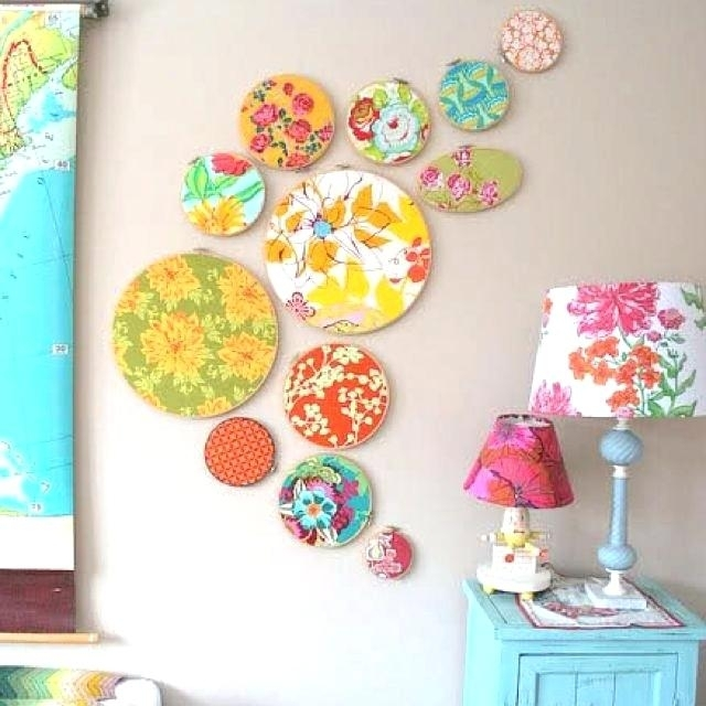 Diy Cloth Wall Art Best Fabric Decor Ideas On Walls Embroidery Intended For Embroidery Hoop Fabric Wall Art (View 4 of 15)