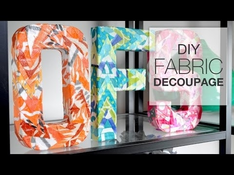 Diy Decoupage With Fabric – Youtube With Fabric Decoupage Wall Art (Image 9 of 15)