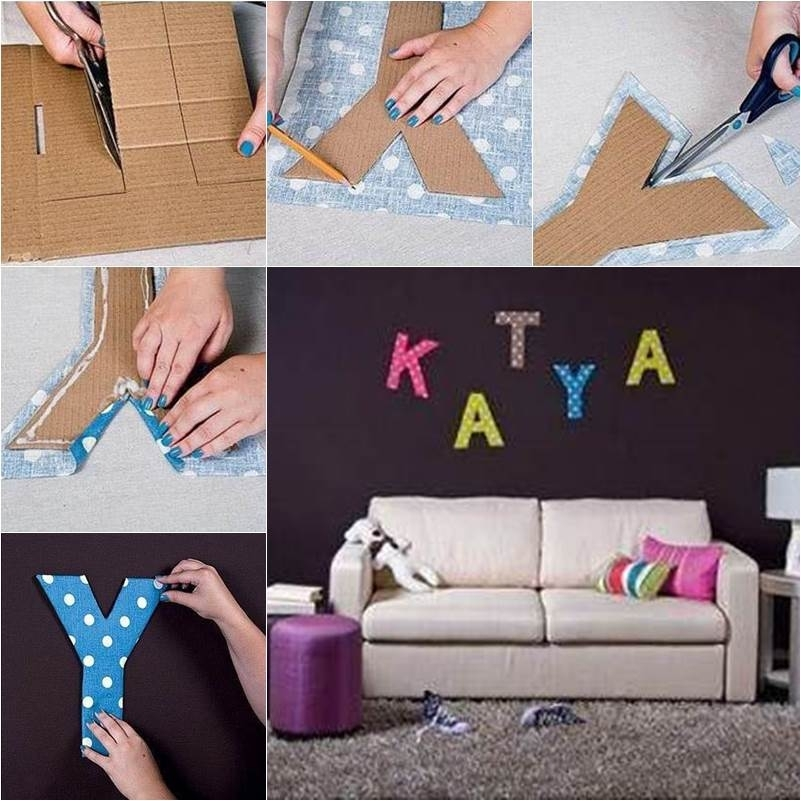 Diy Easy Cardboard Letter Wall Decals | Good Home Diy With Fabric Wall Art Letters (Image 5 of 15)
