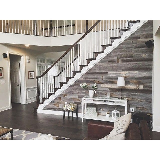 Diy Easy Peel And Stick Wood Wall Decor | Reclaimed Barn Wood Intended For Staircase Wall Accents (Image 5 of 15)