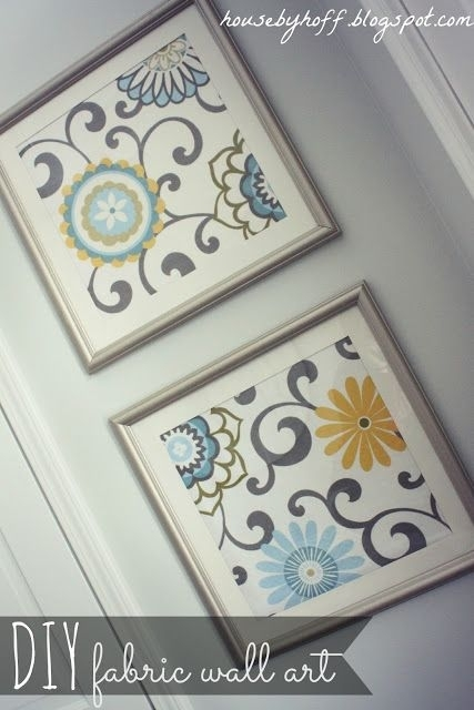 Diy Fabric Artwork! Could Use Those Scrapbooking Pages That Are With Iron Fabric Wall Art (Image 4 of 15)