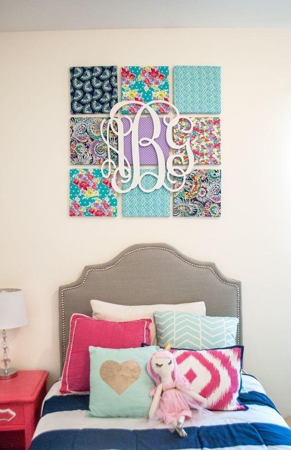 Diy Fabric Wall Art | Monogram Wall, Kids Rooms And Monograms Regarding Inexpensive Fabric Wall Art (Image 3 of 15)