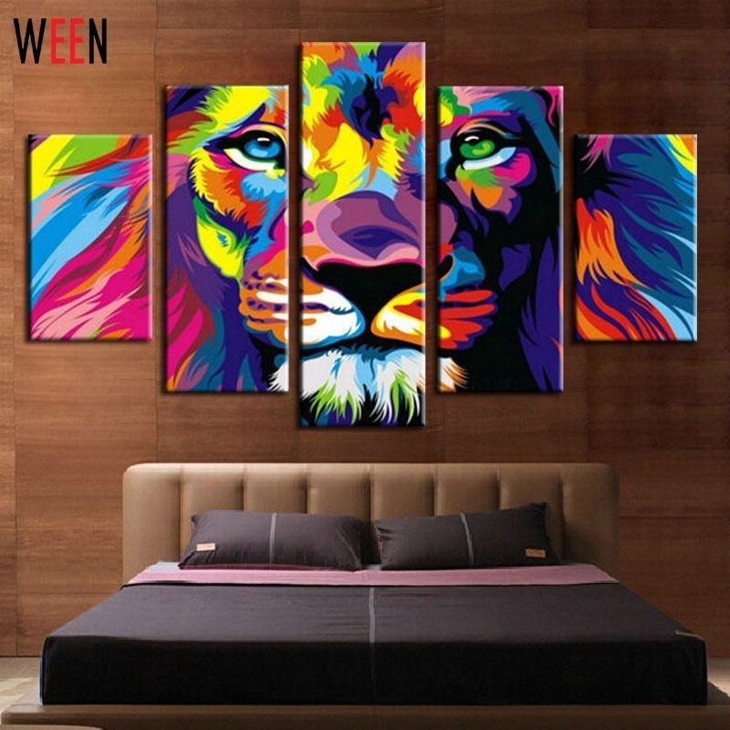 Diy Framed Lion King Animal Abstract Print Canvas Painting Wall Inside Lion King Canvas Wall Art (Image 6 of 15)