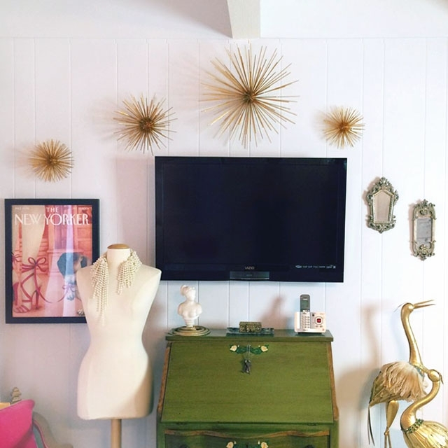 Diy Gold Sea Urchin // Starburst Wall Decor Tutorial | Love Maegan Within Gold Wall Accents (Image 3 of 15)
