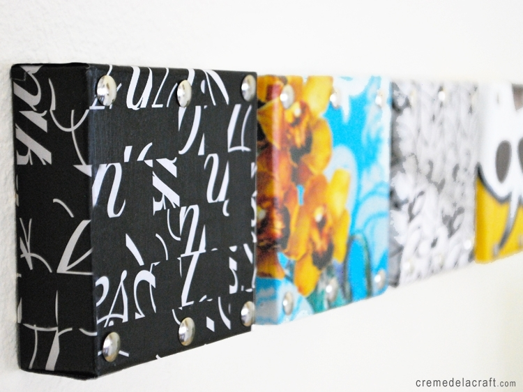 Diy: Mini Wall Art From Shoebox Lids Intended For Fabric Decoupage Wall Art (Image 10 of 15)