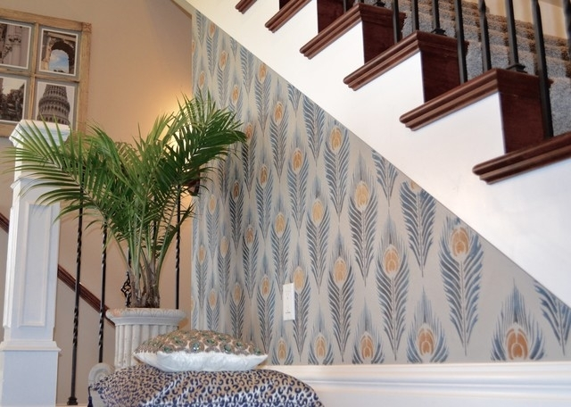 Diy Peacock Feather Stenciled Stairway Accent Wall – Modern Throughout Staircase Wall Accents (Image 6 of 15)