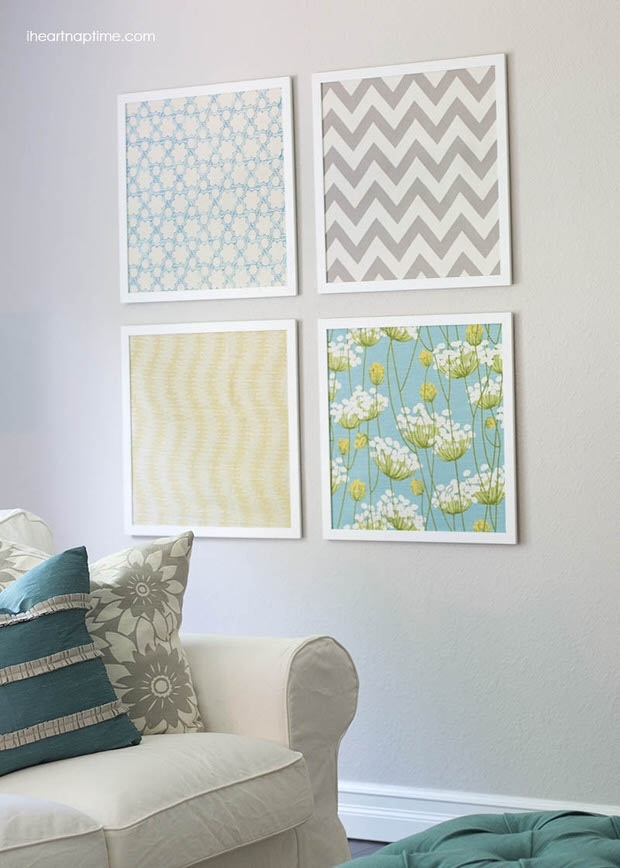 Diy Shoestring Wall Art Ideas • The Budget Decorator Regarding Inexpensive Fabric Wall Art (Image 4 of 15)