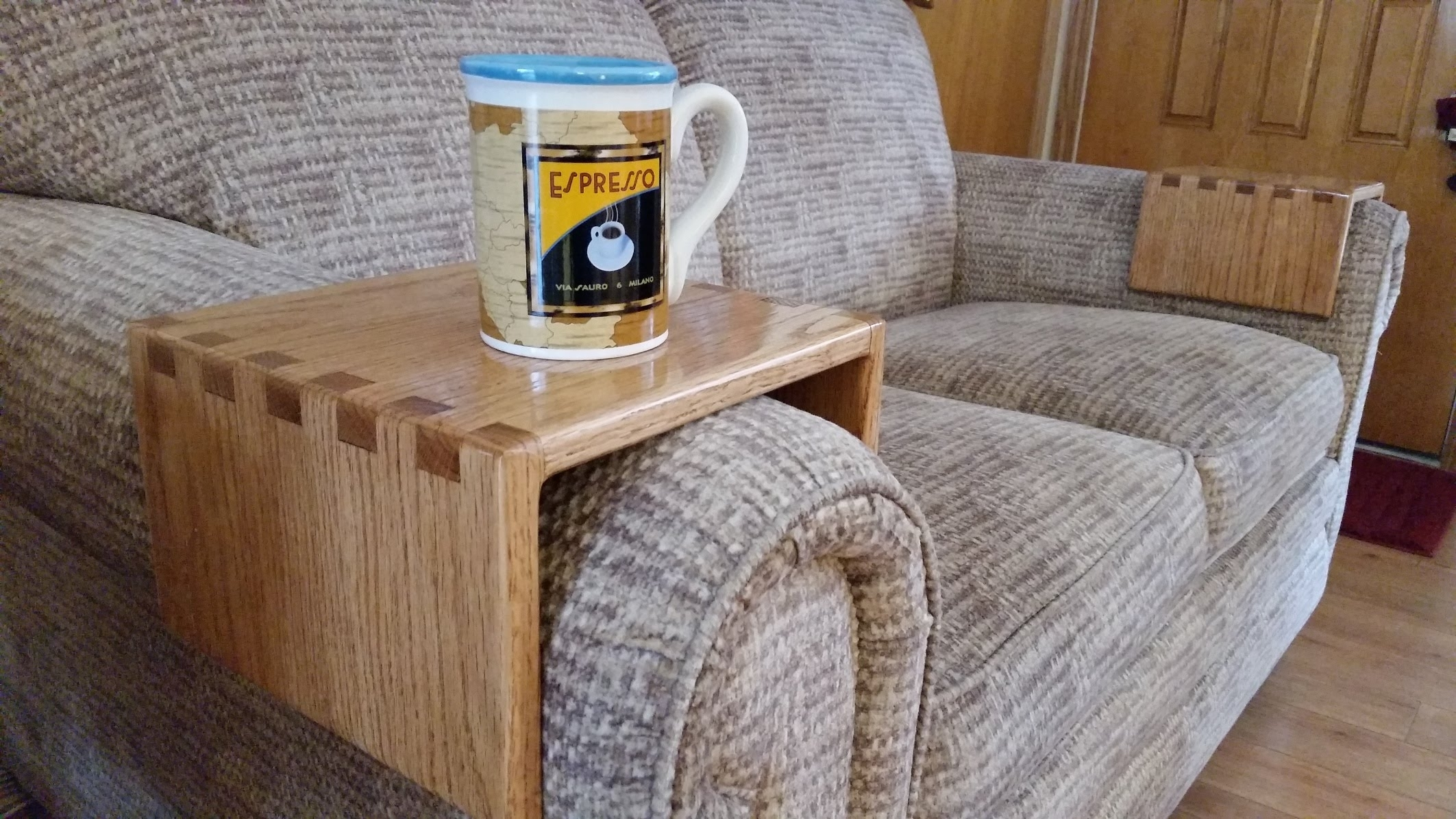 Diy – Sofa Drink Holder Using Simple Box Joints – Youtube With Regard To Sofas With Drink Tables (View 4 of 10)