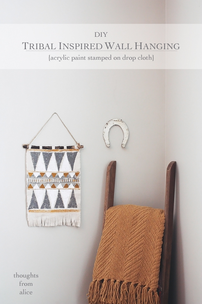 Diy Tribal Inspired Wall Hanging {Acrylic Paint Stamped On Drop Cloth} Within Cloth Fabric Wall Art (Image 7 of 15)