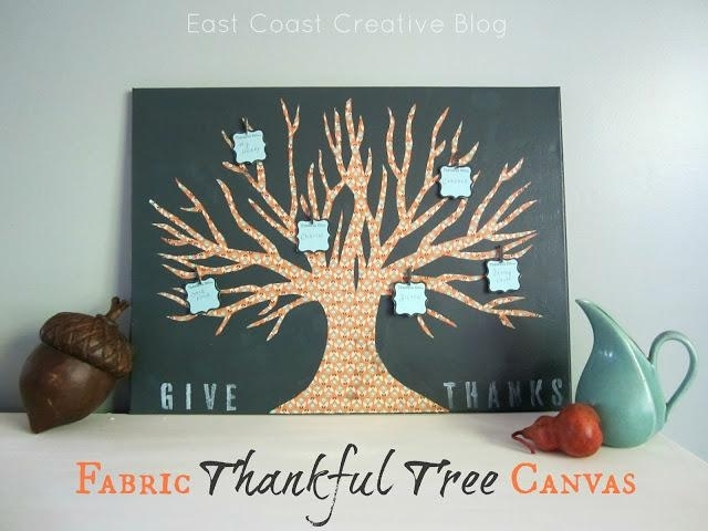 Diy Tutorial Home / Diy Wall Art: Fabric Thankful Tree Canvas Pertaining To Fabric Tree Wall Art (Image 5 of 15)