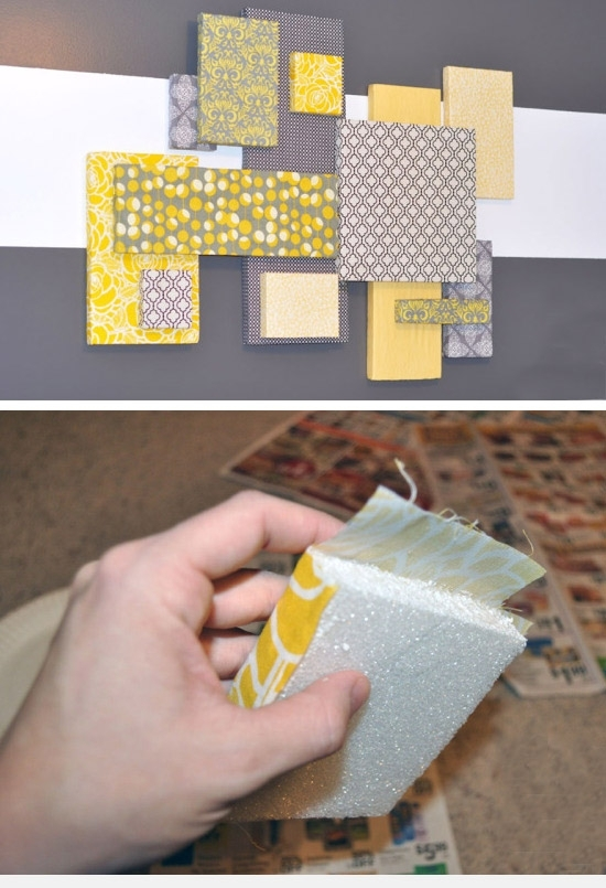 Diy Wall Art: #36 Stepstep Wall Art – Simple And Easy To Say No Throughout Fabric Collage Wall Art (Image 7 of 15)