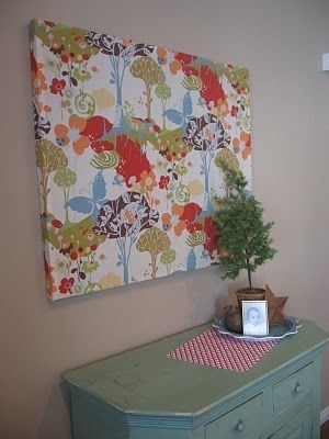 Diy Wall Art Nail Strips Of Wood Together And Staple Fabric Over Throughout Fabric Covered Squares Wall Art (Image 4 of 15)