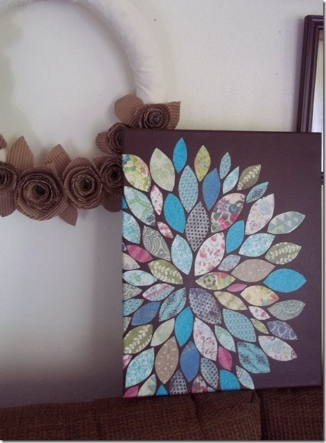 Diy Wall Art (Paper And Mod Podge On Painted Canvas) | Diy // Wall In Diy Fabric Flower Wall Art (Image 9 of 15)